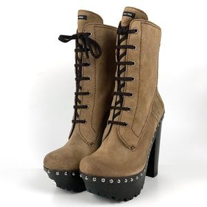 MIU MIU - Leather Platform Boots with Tough Rubber